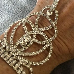 White Gold Faux Diamond Hand Jewelry